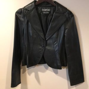 RAMPAGE  Vintage Cropped Genuine Leather Jacket
